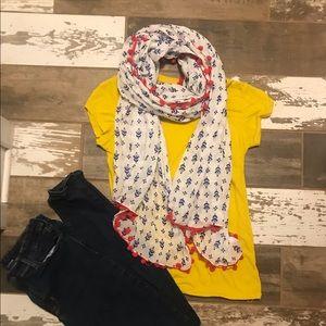 GAP lightweight summer scarf w/dangly pompom trim.